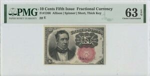 Fifth Issue 10 Cents Fractional FR#1266 PMG 63 CH UNC Short Thick Key EPQ
