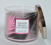 BATH & BODY WORKS WAIKIKI BEACH COCONUT SCENTED CANDLE 3 WICK 14.5OZ LARGE PINK