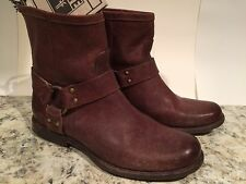 Frye Phillip Harness Ankle Boots Distressed Leather Vintage Zip Brown 6 B New