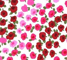Michael Miller On The Town Ava Small Pink Red Rose Flowers on White Fabric - FQ