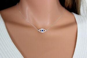 0.80 Ct Round Blue Sapphire & CZ Evil Eye Chain Pendant 14K White Gold FN Silver