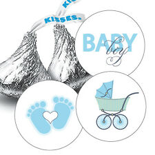 108 Baby Boy Shower Hershey Kiss Stickers Party Favors Decorations Blue Carriage