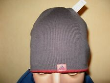NEW MENS YOUTH BOYS RED GREY REVERSIBLE ADIDAS TRENDY FASHION KNITTED BEANIE HAT