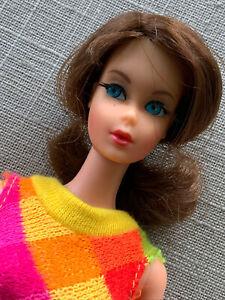 Vintage Mattel Barbie Doll - Marlo Flip Brunette - 1969 Knit Swimsuit Pretty