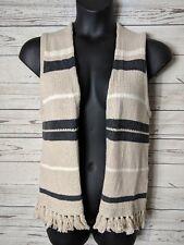 MADEWELL Sz XS / S Beige White Gray Striped Coastward Fringe Sweater Vest