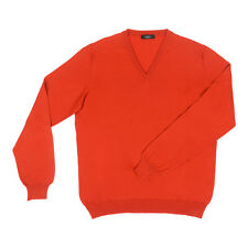 SVEVO by Kiton Wool V-neck Sweater M / 50Eu Orange Red Made in Italy