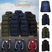 Winter Mens Down Quilted Vest Body Warmer Warm Sleeveless Padded Jacket Coats