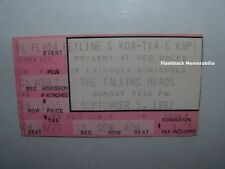 Talking Heads 1982 Concert Ticket Stub Denver Red Rocks Amphitheatre Very Rare