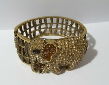 Vintage large heavy rhinestones elephant bracelet bangle