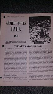 """Armed Forces Talk military magazine #358 """"Top News Stores, 1950"""""""