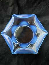 Vintage Blue Opalescent Hexagon Shaped Dish