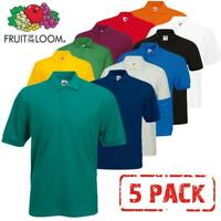 5 PACK FRUIT OF THE LOOM Plain 65/35 Polo Shirts Unisex Men Women Tee T Shirt