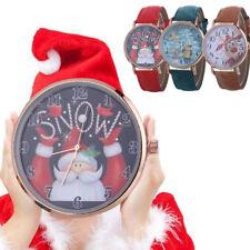 Fashion Women Christmas  Watch Santa Pattern Leather Band Strap Quartz Watches