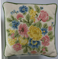 "14.5"" Handmade Embroidered Wool Needlepoint Pillow Victorian Roses & Tulips"