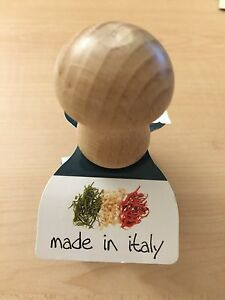 "New Eppicotispai ITALY 2"" Aluminum Sm SQUARE Ravioli Cookie Stamp Beechwood top"