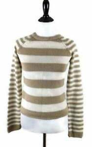 Grane Women's Sweater Size Med Crew Neck Striped Long Sleeve Tan White Pullover