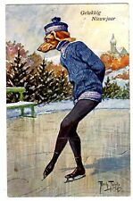 POSTCARD THIELE DOG DACHSHUND IN BLUE ICE SKATING T.S.N. SERIES 1300
