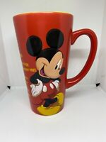 Disney Store Mickey Mouse Tall Red Coffee Mug Check List Walt Disney