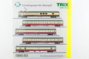 """Minitrix 15860.002 5er Set Schnellzugwagen """"Rheingold"""" der DB AG, OVP, (Y459)"""