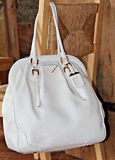 $1798~PRADA white cream TEXTURED LEATHER Framed DOME~BAG Brass Buckle purse Huge