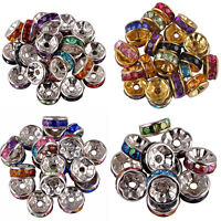 100Pcs Silver Plated Czech Crystal Spacer Rondelle Beads Charm Findings 6/8mm