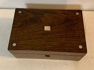 Antique 19th Century Small Rosewood Box w/ Mother of Pearl Inlay