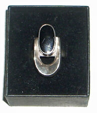 Vintage Mexican Sterling Silver & Onyx Modernist Ring