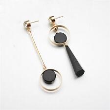 Hot Delicate Crystal Rhinestone Pendant Ear Stud Asymmetry Drop Dangle Earrings Gold