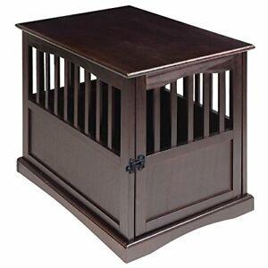 Casual Home Wooden Medium Pet Crate End Table Espresso