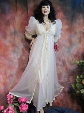 Vintage 1950-60 PEIGNOIR & NEGLIGEE SET white nylon ALENCON Lace GOWN & ROBE S-M