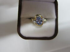 GORGEOUS ESTATE 14 KT GOLD 1.34 CT. TANZANITE AND DIAMOND RING !!!!!!!