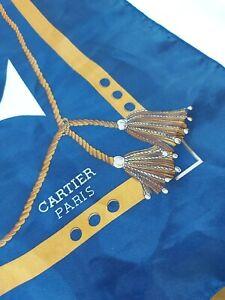 "Cartier Paris Blue Scarf. 34"" x 34"" large scarf for shoulder neck or headscarf.."