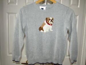 NEW Janie and Jack Bulldog Dog Gray Cotton Sweater 8 NWT Boys