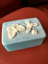Vintage Blue Incolay Trinket Box Butterfly