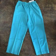 Alfred Dunner Pants Womens Size 18 P Aqua Blue Stretch Waist Pockets Medium