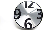 LC Designs Modern Silver Round Wall Clock RRP £39.99 Our Price Just £9.99!