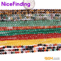 """2-3mm Natural Round Faceted Tiny Gemstone Spacer  Loose Beads Jewelry Making 15"""""""