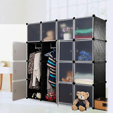 Interlocking 4 Columns 4 Tiers Cube Plastic Storage Shoes Rack Clothes Organizer