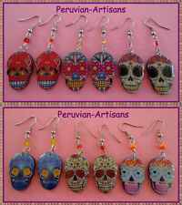 New Arrival Lot 20 P-Earrings Skull Crazy Designs Peruvian Art