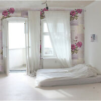Peonies paper collage Removable wallpaper pink and green wall mural temporary