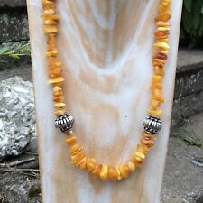 Genuine egg yolk butterscotch Baltic amber necklace. Sterling silver beads.Irish