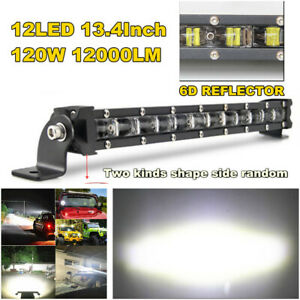 "13.4"" 120W Slim Thin Single Row Flood LED Spot Work Light Bar For Off-road Truck"