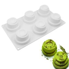 3D 6 Hole Spiral Silicone Cake Mousse Bread Mold Baking Pastry Cake Pan
