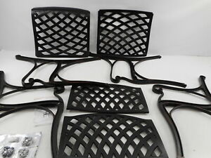 Nuu Garden CD002 - Outdoor Cast Aluminum Patio Bistro Arm Chair, Set of 2, Black