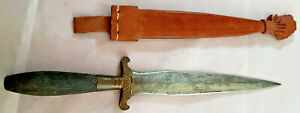 "Vintage Dagger W/ 6"" Carbon Steel Blade-Leather Sheath-Philippines"