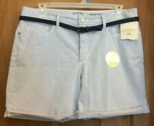 Riders by Lee Blue White Pinstripe Midrise Shorts Belt Misses Size 16 NWT