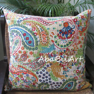 """24X24"""" Large Beige Home Decorative Floral Pillow Cover Kantha Work Cushion Cover"""