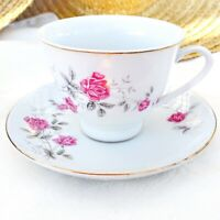 Vintage Northridge China Tea Cup & Saucer Pink Roses Silver Leaves Gold Trim