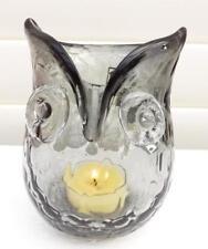 CUTE OWL*CHARCOAL GLASS TEA LIGHT CANDLE HOLDER*NEW