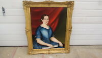 Antique  American Portrait Painting of Young  Woman in Blue Dress